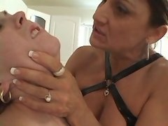 Old lesbian torments innocent babe on kitchen mature girl porn